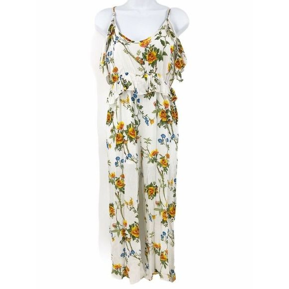 Raga Pants - Raga Floral Cold Shoulder Jumpsuit XS